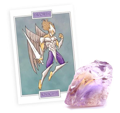 Full Moon Tarot Card and Crystals