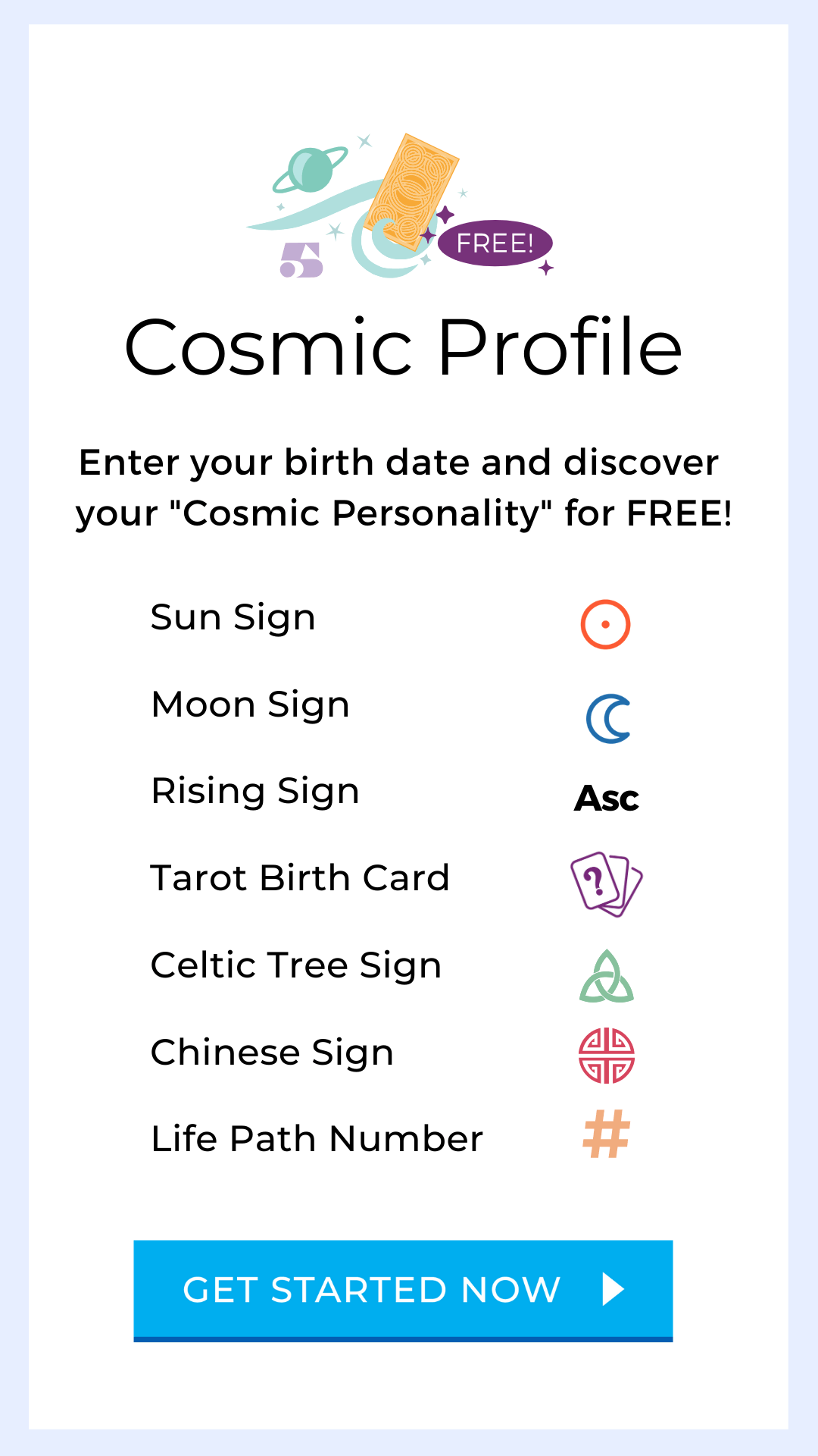 Free Cosmic Profile from Tarot.com