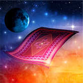 new moon with magic carpet illustration