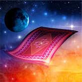 new moon with magic carpet illustration