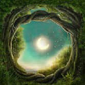 celtic tree portal with moon