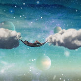 woman floating in clouds
