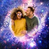 couple with Astrology wheel