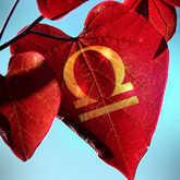 leaf with libra zodiac symbol