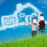 family and house shaped clouds