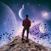 man hiking in space