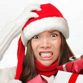 stressed out woman in holiday outfit