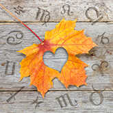 fall leaf with zodiac sign symbols
