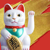 luck, gold, ceramic cat, red