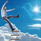 man falling off ladder with retrograde symbols