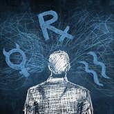 man with scribbled mercury retrograde symbols