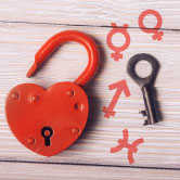 lock and key with astrology symbols
