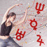 woman dancing and astrology symbols
