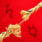 breaking rope with saturn and mercury symbols