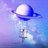 woman swinging in space