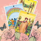 tarot cards in spring setting