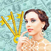 woman with money and keys
