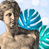 Venus statue with leaf