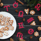 winter cookies with astrology symbols