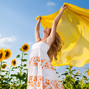 girl scarf summer sunflowers