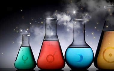 science beakers with astrology symbols