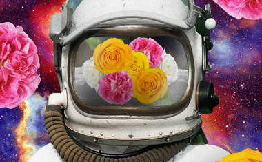 astronaut with flowers