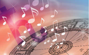 astrology birth chart with music notes