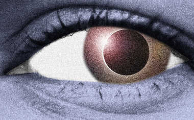 eye with solar eclipse