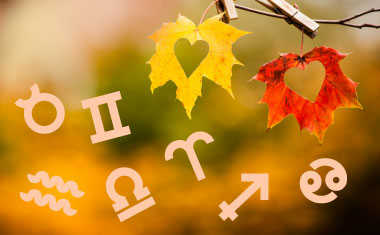 fall leaves and astrology symbols