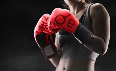 boxing gloves with planet symbols