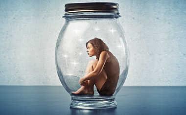 stuck in a rut: woman in a jar