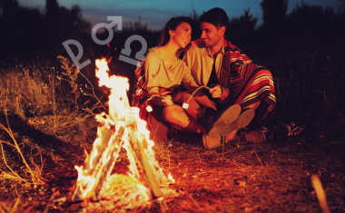 couple by fire with zodiac sign symbols