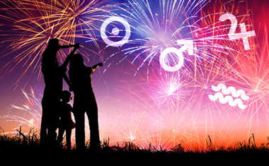 fireworks with astrology symbols