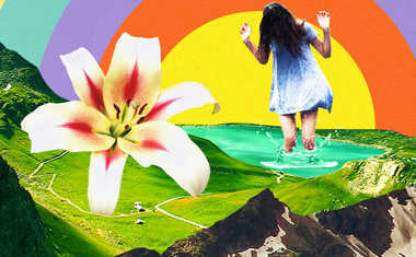 girl with flower and rainbow