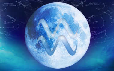 full moon with aquarius zodiac symbol