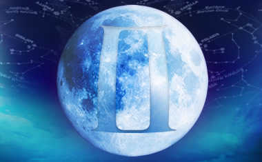 full moon with gemini zodiac symbol