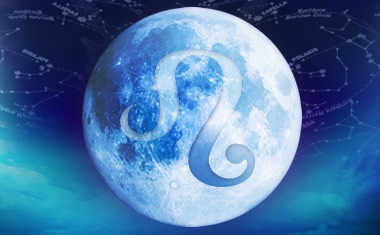 full moon and leo zodiac sign symbol