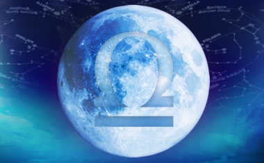 full moon with libra zodiac symbol