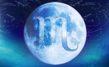 full moon with scorpio zodiac symbol