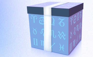 gift box with zodiac symbols