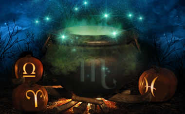 spooky halloween cauldrons with zodiac sign symbols