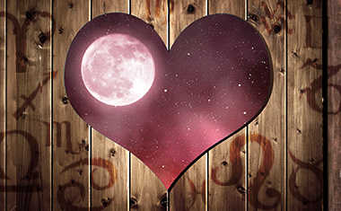 heart with full moon and zodiac symbols