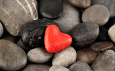 stones and red heart shaped stone