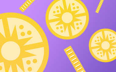 Karma Coins against Purple Gradient background