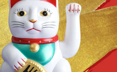 luck, gold, ceramic cat, red