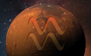 mars with aquarius zodiac sign symbol