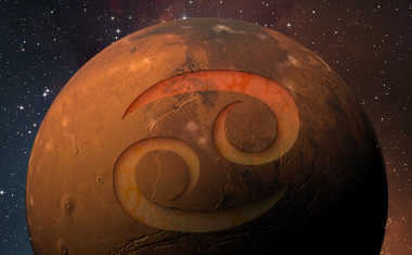 planet mars with cancer zodiac symbol
