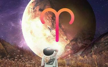 planet mercury with aries zodiac sign symbol