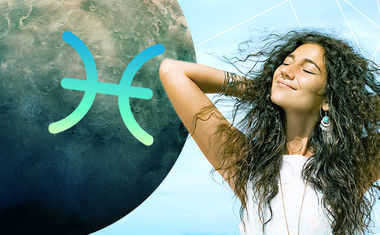 planet mercury with pisces zodiac sign symbol