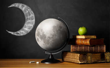 moon with globe and books in classroom